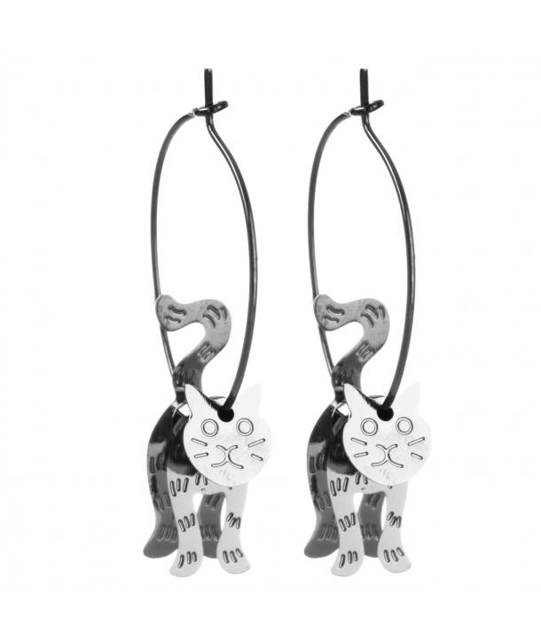 Boucles d'oreilles CHABIRIS GUN SILVER créoles argent perles et pampilles chat articulé