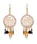 BOUCLES D'OREILLES - TAMPA GOLD & BLACK WHITE CRYSTALS