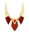 COLLIER - FOGARONE DORADA NARANJA - plastron ethnique doré bois et corail