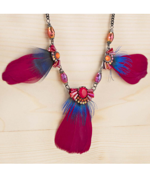 COLLIER - PAKURIAS ROJA - plastron ras de cou rouge et bleu plume cristal