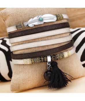 BRACELET - LOCASIESTAS BLANCO - double tour noir et blanc plume avec turquoise et fermoir aimanté