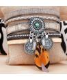 BRACELET - AZTEK GRIS - manchette gris et argent plume turquoise et fermoir aimanté