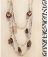 COLLIER - ROMANTIKERO SILVER GREY - sautoir multirangs gris argent plumes cristal