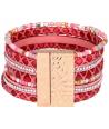 BRACELET - EREA CORAL DORADA - manchette rose corail et dorée plume et fermoir aimanté