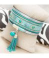 BRACELET - OLINDA TURQUOISE SILVER - manchette bleue et argent pompon et turquoise fermoir aimanté