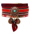 BRACELET - AZTEK BORDEAUX - manchette rouge bordeaux et dorée plume turquoise fermoir aimanté