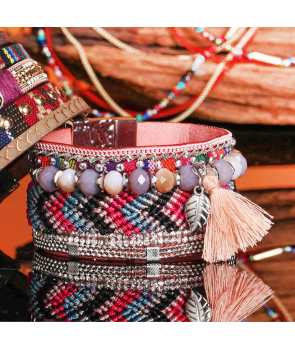 BRACELET - NAPA ROSA SILVER - manchette rose bleue et argent pompon et tissage brésilien fermoir aimanté