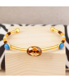 BRACELET - TOTESOL DORADA - jonc brésilien doré multicolore cristal flexible