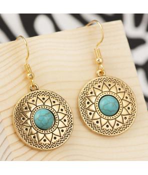 BOUCLES D'OREILLES - CODEXA DORADA - pendantes dorées et turquoises