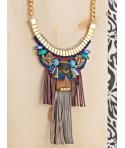 Collier PUERTADORA DORADA COLOR plastron ethnique doré coloré bois cristaux franges en simili cuir