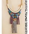 COLLIER - PUERTADORA DORADA COLOR - plastron ethnique doré coloré bois plumes cristal franges