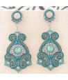 BOUCLES D'OREILLES - EOLE BLUE SILVER - pendantes argent et bleu turquoises cristal
