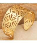 BRACELET - METEA DORADA - manchette ethnique dorée ajourée flexible amérindien