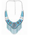 COLLIER - VALDERA BLUE SILVER - plastron argent et turquoise nubuck cristal franges