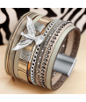 BRACELET - CONDOR GREY SILVER - manchette large grise et condor argent fermoir aimanté