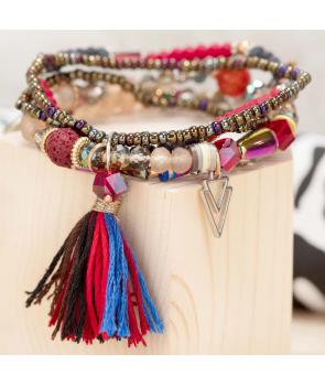 BRACELET - MATISSO COLOR GOLD - bracelet de perles avec cristaux pompons et pampilles taille élastique