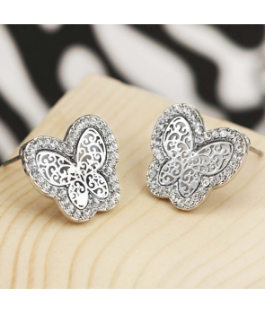 BOUCLES D'OREILLES - MARIPOSA SILVER - puces papillon argent et cristal