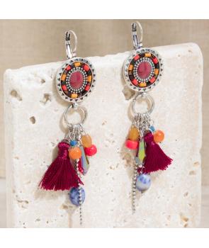 BOUCLES D'OREILLES - TALISSA BORGOGNA SILVER - pendantes argent et rouge pampilles pompons et cristaux