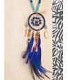 COLLIER - SONATIS BLUE - sautoir indigène bleu avec pendentif macramé attrape rêve
