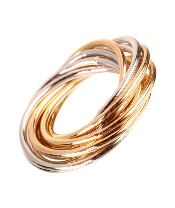 BAGUE - INFINADA - jonc anneaux mobiles entrelacés argentés et dorés