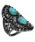 BAGUE - ANDROMEDA - bague ethnique cristaux et turquoises
