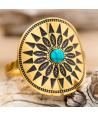 Bague CORONADA STEEL TURQUOISE DORADA cabochon réglable acier doré couronne de plumes