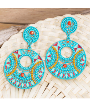 Boucles d'oreilles MOBIA BLUE SILVER pendantes ajourées ethniques turquoises et argent cristal émaux et perles