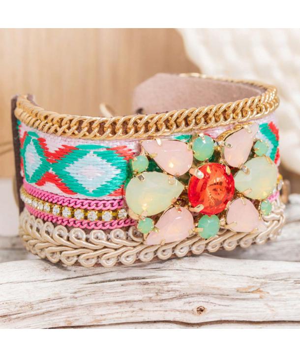Bracelet EL ORIENTAL ROSA VERDE DORADA manchette cuir ethnique rose et dorée cristal tissage brésilien