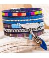 Bracelet CUROSPE DO BRASIL COLOR BLUE SILVER manchette bleue et argent tissage brésilien multicolore et plumes