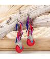 Boucles d'oreilles MAGOYE ROJA SILVER pendantes ethniques rouges et argent résine et perles