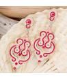 Boucles d'oreilles ASTRAEL ROJA SILVER pendantes ajourées ethniques rouges et argent cristal et émaux