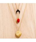 Collier SOL Y MAR STEEL ROJA DORADA ras de cou multirangs acier inoxydable doré jaspe rouge et symboles
