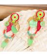 Boucles d'oreilles FIJAO VERDE CORAL GOLD pendantes ethniques rouges corail et vert pomme doré cristal émaux et nacre