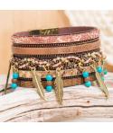 Bracelet ROCADAS CAMEL TURQUOISE GOLD manchette doré bronze plume métal fermoir aimanté