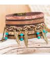 BRACELET - ROCADAS CAMEL BLUE GOLD - manchette doré bronze plume en métal et turquoise et fermoir aimanté