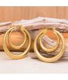 BOUCLES D'OREILLES - FOLIANA CRISTAL DORADA - pendantes feuillage et papillon dorées et cristal