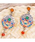 BOUCLES D'OREILLES - EZEDIA BLUE VERDE SILVER - pendantes cristal et tissage argent bleu et vert