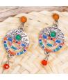 Boucles d'oreilles VEDRA COLOR SILVER pendantes ethniques multicolores et argent cristal et perles