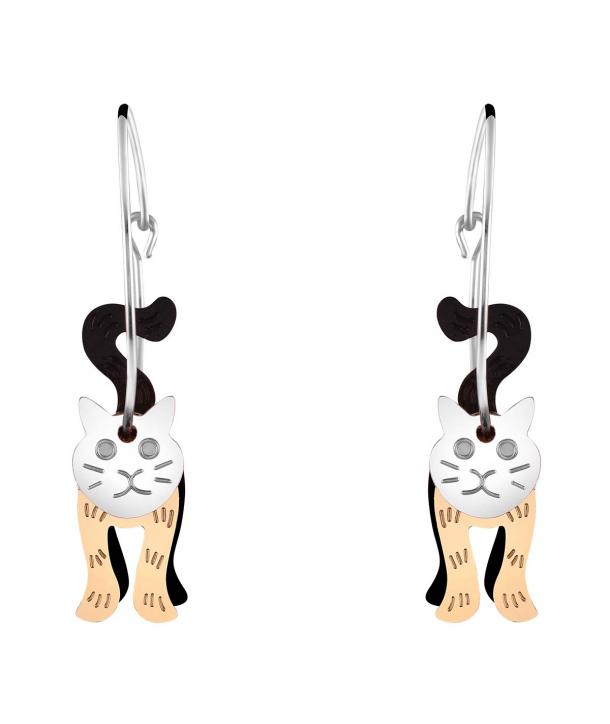 Boucles d'oreilles CHABIRIS MEZTIZO créoles argent dorées et noires perles et pampilles chat articulé