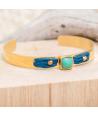 Bracelet KALUAR JADE GOLD jonc fin acier doré flexible pierre de roche vert d'eau et tissage