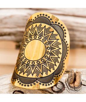 Bague FLOENAL STEEL DORADA jonc ethnique réglable acier doré martelée antique médiéval