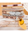 Bracelet CUROSPE DO BRASIL BEIGE REPTIL SILVER manchette argent tissage brésilien et plumes