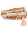 Bracelet REPTIL BEIGE GOLD double tour doré breloque pompon et plume et fermoir aimanté