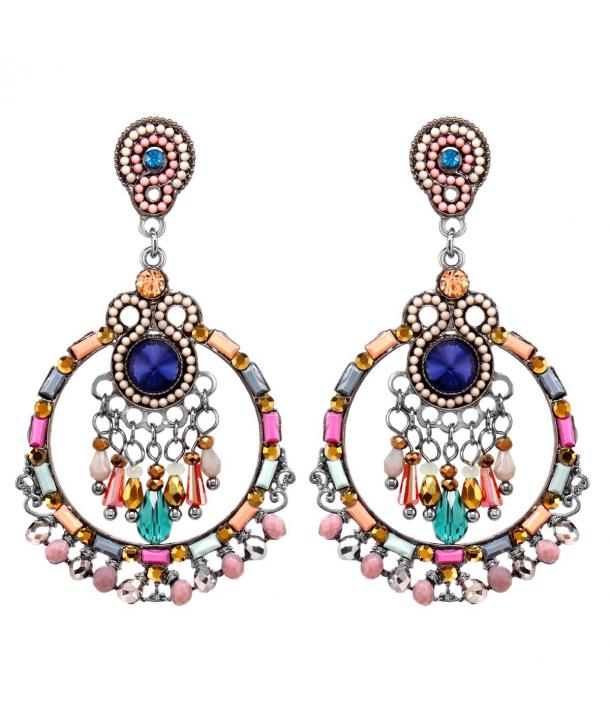 Boucles d'oreilles OLIVEAS COLOR SILVER pendantes baroques multicolores et argent cristal et perles