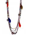 Collier ECUADOR NOCHE COLOR sautoir ethnique multirangs multicolore noir plumes cristaux