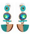 Boucles d'oreilles AMAZONIA VERDE GOLD pendantes ethniques vert émeraude et dorées cristal et bois