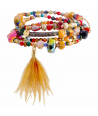 Bracelet DOVILANE COLOR GOLD multirangs de perles de cristal multicolores et dorées avec plumes taille élastique