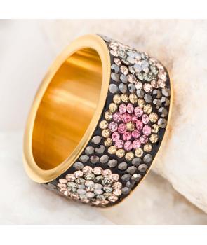 Bague FAORAL STEEL ROSA DORADA jonc acier inoxydable doré et rose pêche cristal fleur