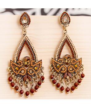 Boucles d'oreilles LUZAL CHOCO DORADA pendantes ethniques marron chocolat et dorées cristal et perles