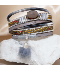 Bracelet POPOS GREY SILVER double tour argent pompon fourrure et pierre d'agate grise et fermoir aimanté